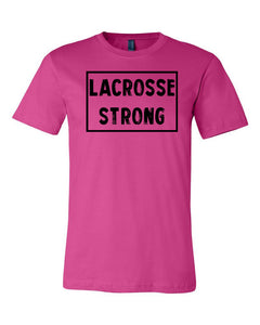Berry Lacrosse Strong Adult Lacrosse T-Shirt With Lacrosse Strong Design On Front