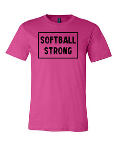 Berry Softball Strong Adult Softball T-Shirt With Softball Strong Design On Front