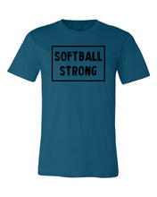 Deep Teal Softball Strong Adult Softball T-Shirt With Softball Strong Design On Front