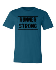 Deep Teal Runner Strong Adult Runner T-Shirt With Runner Strong Design On Front