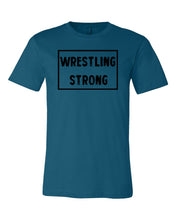 Deep Teal Wrestling Strong Adult Wrestling T-Shirt With Wrestling Strong Design On Front