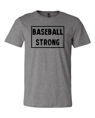 Heather Gray Baseball Strong Adult Baseball T-Shirt With Baseball Strong Design On Front