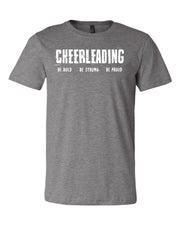 Heather Gray Cheerleading Be Bold Be Strong Be Proud Adult T-Shirt