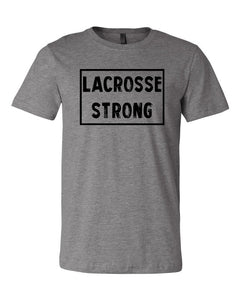 Heather Gray Lacrosse Strong Adult Lacrosse T-Shirt With Lacrosse Strong Design On Front