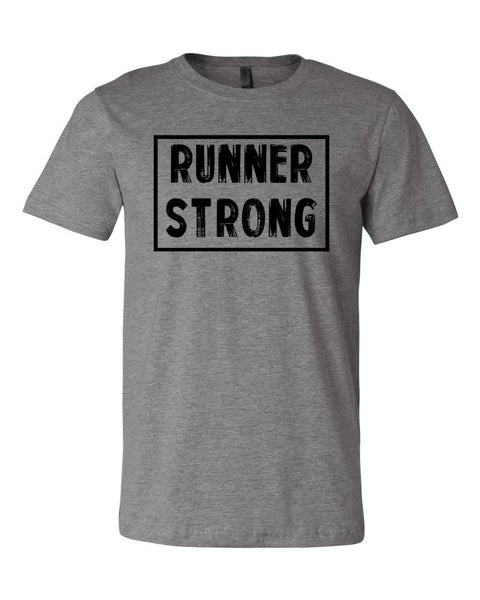 Heather Gray Runner Strong Adult Runner T-Shirt With Runner Strong Design On Front