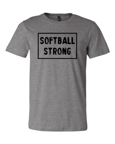Heather Gray Softball Strong Adult Softball T-Shirt With Softball Strong Design On Front