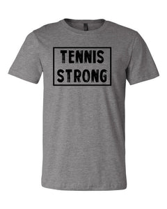 Heather Gray Tennis Strong Adult Tennis T-Shirt With Tennis Strong Design On Front