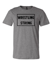 Heather Gray Wrestling Strong Adult Wrestling T-Shirt With Wrestling Strong Design On Front