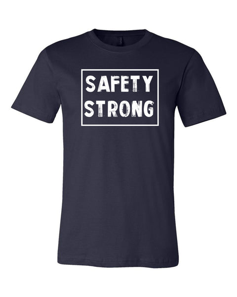 Navy Safety Strong Adult Football T-Shirt
