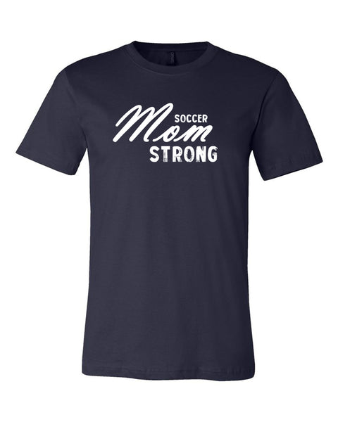 Navy Soccer Mom Strong Adult Soccer T-Shirt