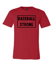 Red Baseball Strong Adult Baseball T-Shirt With Baseball Strong Design On Front