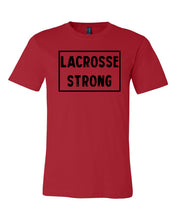 Red Lacrosse Strong Adult Lacrosse T-Shirt With Lacrosse Strong Design On Front