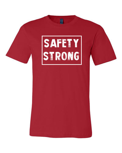 Red Safety Strong Adult Football T-Shirt