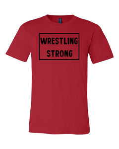 Red Wrestling Strong Adult Wrestling T-Shirt With Wrestling Strong Design On Front