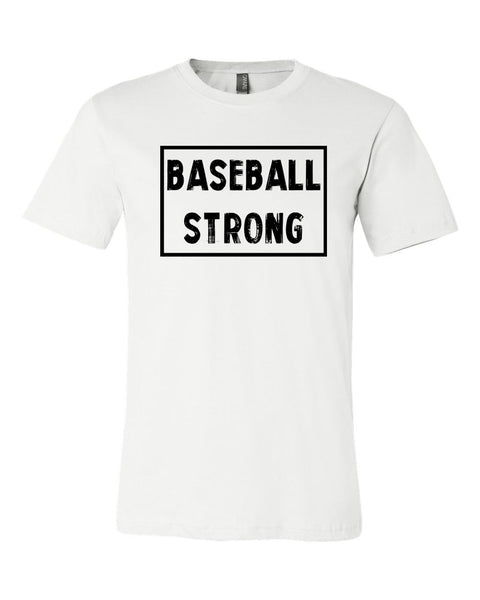 White Baseball Strong Adult Baseball T-Shirt With Baseball Strong Design On Front