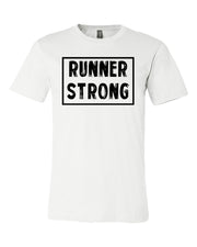 White Runner Strong Adult Runner T-Shirt With Runner Strong Design On Front