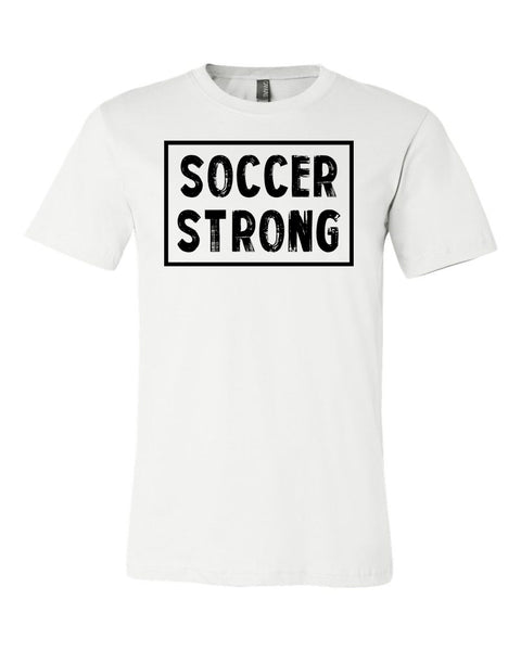 White Soccer Strong Adult Soccer T-Shirt