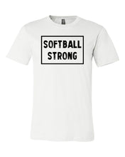 White Softball Strong Adult Softball T-Shirt With Softball Strong Design On Front