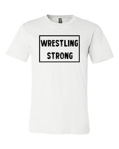 White Wrestling Strong Adult Wrestling T-Shirt With Wrestling Strong Design On Front