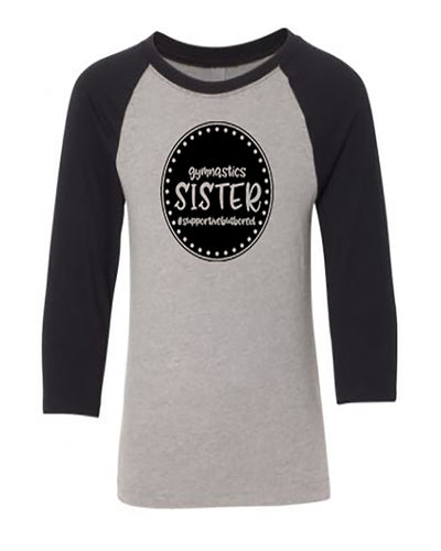 Gymnastics Sister Youth 3/4 Sleeve Raglan T-Shirt
