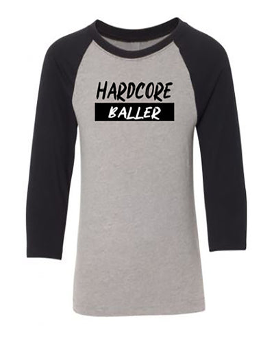 Hardcore Baller 3/4 Sleeve Raglan Youth T-Shirt