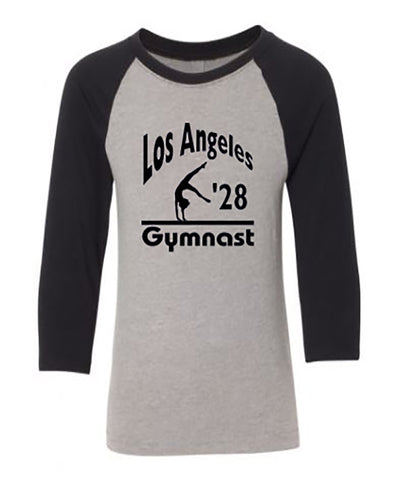 LA 2028 Gymnast Youth 3/4 Sleeve Raglan Gymnastics T-Shirt