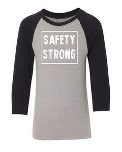 Safety Strong Kids 3/4 Sleeve Raglan T-Shirt
