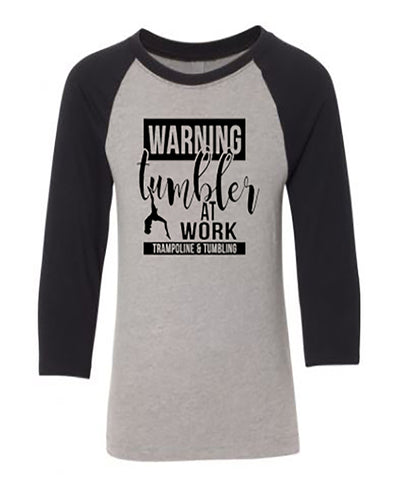 Tumbler At Work Trampoline & Tumbling Youth 3/4 Sleeve Raglan T-Shirt