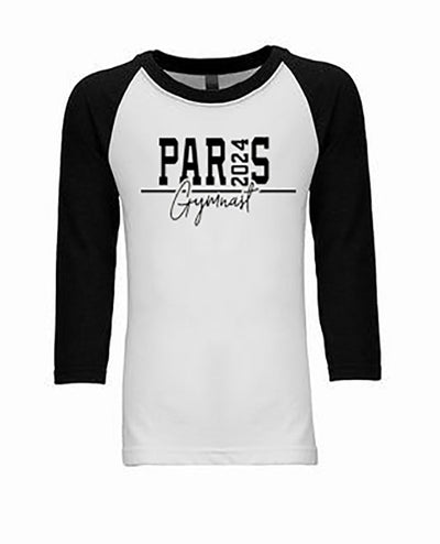 Paris 2024 Gymnast Youth 3/4 Sleeve Raglan Gymnastics T-Shirt