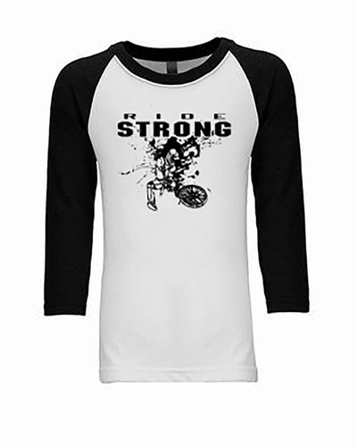 Ride Strong Youth 3/4 Sleeve Raglan BMX T-Shirt