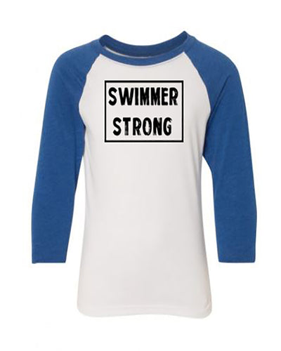Swimmer Strong Youth 3/4 Sleeve Raglan T-Shirt