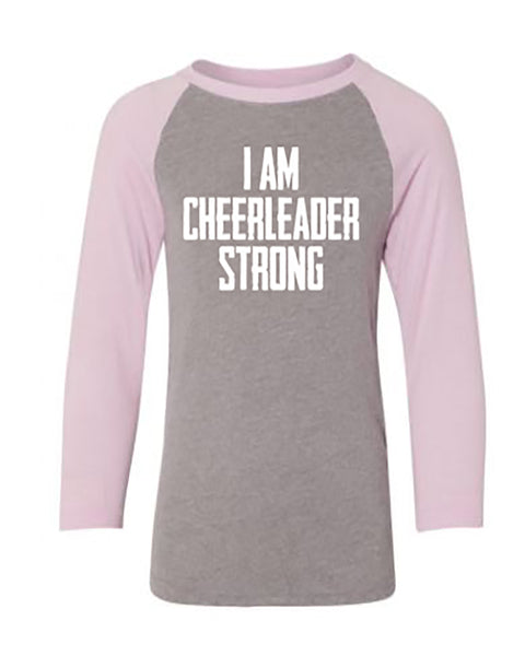 I Am Cheerleader Strong Youth 3/4 Sleeve Raglan T-Shirt