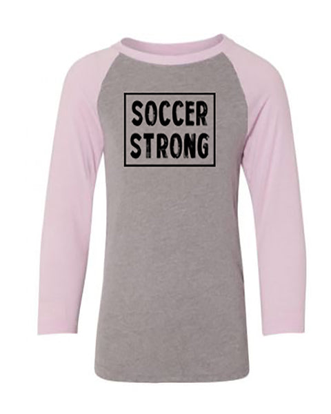 Soccer Strong Youth 3/4 Sleeve Raglan T-Shirt
