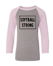 Softball Strong Youth 3/4 Sleeve Raglan T-Shirt
