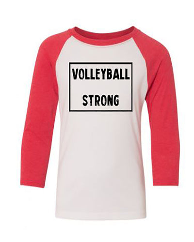 Volleyball Strong Youth 3/4 Sleeve Raglan T-Shirt