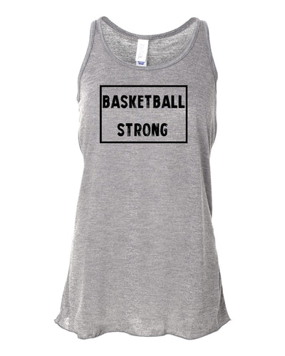 Heather Gray Basketball Strong Girls Flowy Racerback Basketball Tank Top