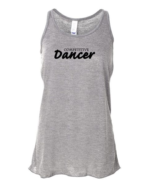 Heather Gray Competitive Dancer Girls Flowy Racerback Dance Tank Top