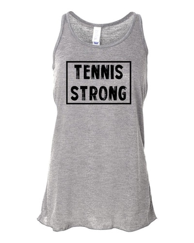 Heather Gray Tennis Strong Girls Flowy Racerback Tennis Tank Top With Tennis Strong Design On Front