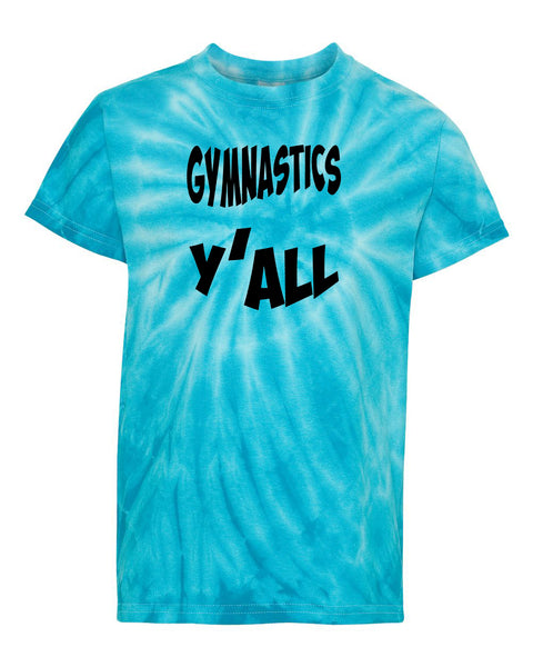 Gymnastics Y'all Youth Tie Dye T-Shirt