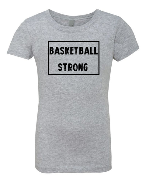 Heather Gray Berry Basketball Strong Girls Basketball T-Shirt With Basketball Strong Design On Front