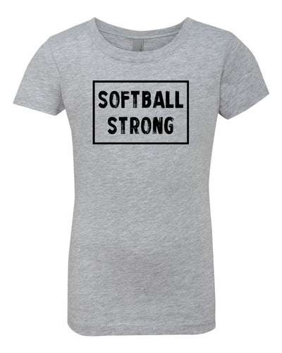 Heather Gray Softball Strong Girls Softball T-Shirt With Softball Strong Design On The Front