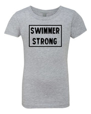 Heather Gray Swimmer Strong Girls Swim T-Shirt