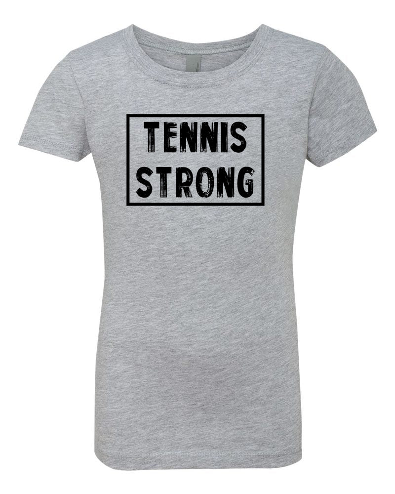 Heather Gray Tennis Strong Girls Tennis T-Shirt With Tennis Strong Design On Front