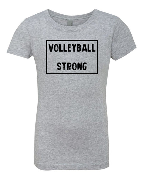 Heather Gray Volleyball Strong Girls Volleyball T-Shirt
