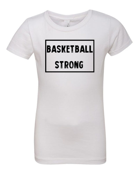 White Basketball Strong Girls Basketball T-Shirt With Basketball Strong Design On Front
