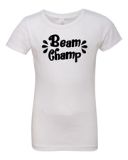 White Beam Champ Girls Gymnastics T-Shirt