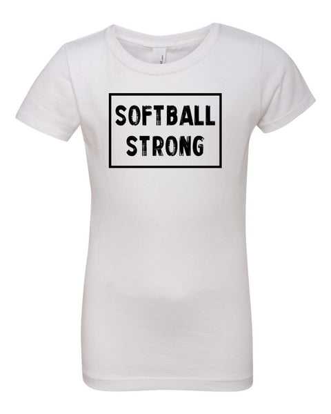 White Softball Strong Girls Softball T-Shirt With Softball Strong Design On The Front