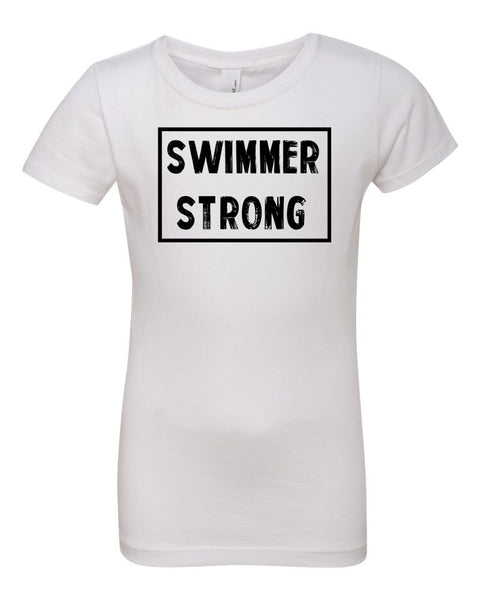 White Swimmer Strong Girls Swim T-Shirt