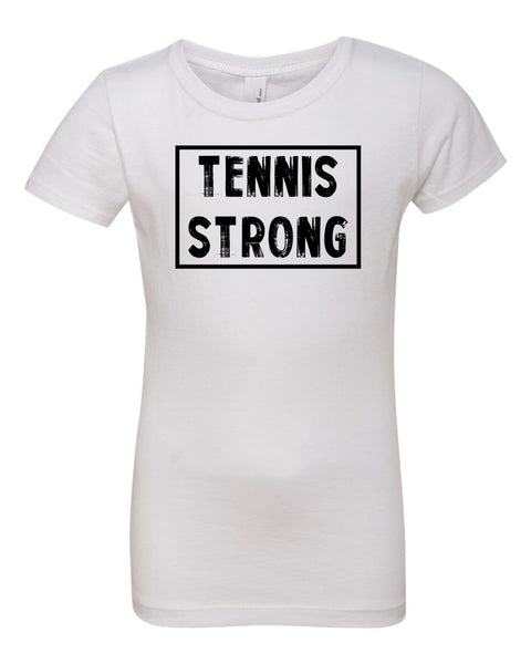White Tennis Strong Girls Tennis T-Shirt With Tennis Strong Design On Front