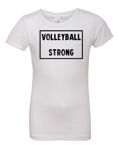 White Volleyball Strong Girls Volleyball T-Shirt